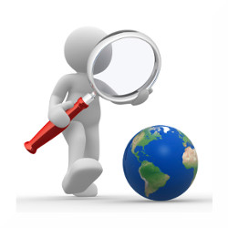 3d people - man, person with magnifying glass looking at Earth